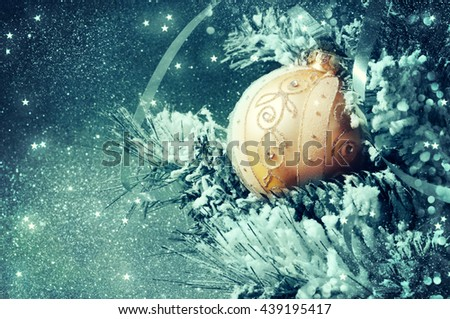 Christmas backround. Fir branch with  decorations. - stock photo