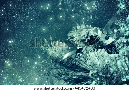 Christmas backround  with lights and serpentine - stock photo