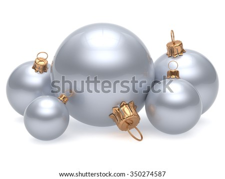 Christmas ball adornment decoration white New Year's Eve shine wintertime hanging baubles group silver. Traditional ornament happy winter holidays Merry Xmas classic decor chrome. 3d render isolated - stock photo