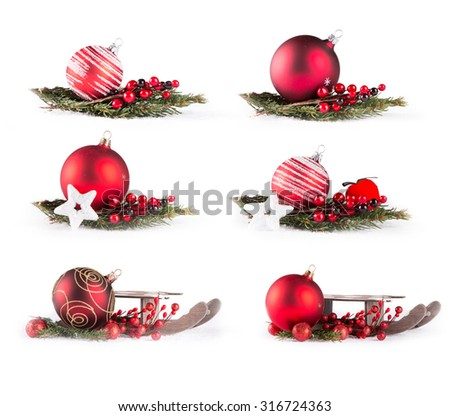 Christmas ball and green tree on white background, Collection christmas decoration isolated on white background. Red balls.  - stock photo