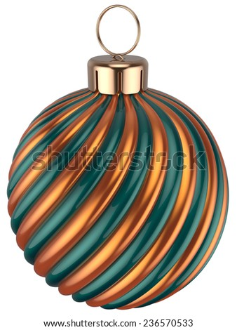 Christmas ball bauble New Years Eve decoration gold orange green sphere icon. Beautiful shiny Merry Xmas winter symbol vintage. 3d render isolated on white background - stock photo