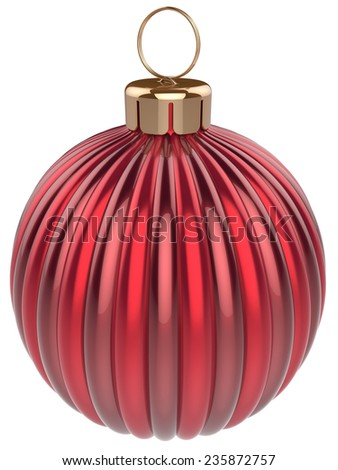 Christmas ball bauble New Years Eve decoration red sphere icon. Beautiful shiny Merry Xmas winter symbol classic blank. 3d render isolated on white background - stock photo