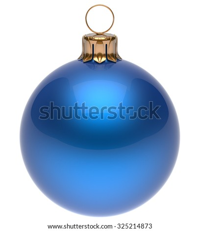 Christmas ball blue New Year's Eve bauble wintertime decoration glossy sphere hanging adornment classic. Traditional winter ornament happy holidays Merry Xmas symbol blank round. 3d render isolated - stock photo