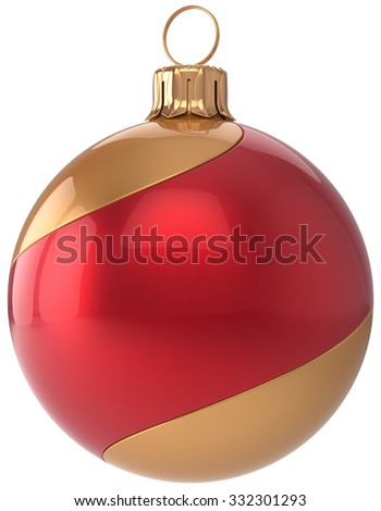 Christmas ball decoration New Year's Eve bauble red golden sphere hanging adornment modern. Traditional happy wintertime holidays ornament Merry Xmas symbol blank striped. 3d render isolated - stock photo
