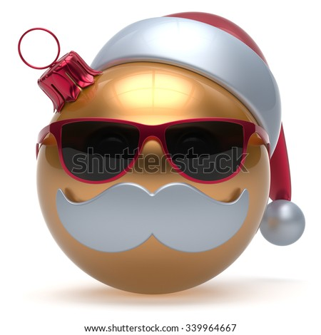 Christmas ball emoticon Happy New Year's Eve bauble Santa Claus hat cartoon mustache face decoration cute golden. Merry Xmas cheerful funny glasses person laughing character toy adornment. 3d render - stock photo