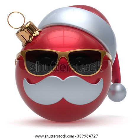 Christmas ball emoticon Happy New Year's Eve bauble Santa Claus hat cartoon mustache face decoration cute red. Merry Xmas cheerful funny glasses person laughing character toy adornment. 3d render - stock photo