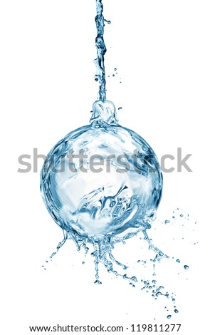 Christmas ball from water splash with bubbles isolated on white - stock photo