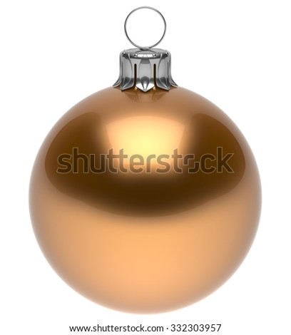 Christmas ball golden New Year's Eve bauble wintertime decoration glossy sphere hanging adornment classic. Traditional winter ornament happy holidays Merry Xmas symbol blank round. 3d render isolated - stock photo
