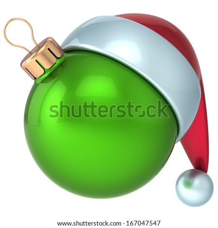 Christmas ball Happy New Year bauble decoration green ornament Santa hat icon emoticon avatar. Wintertime shiny Merry Xmas symbol souvenir blank. 3d render isolated on white background - stock photo
