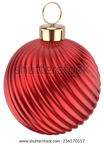 Christmas ball Happy New Year bauble red decoration sphere icon. Beautiful shiny Merry Xmas winter symbol classic traditional. 3d render isolated on white background - stock photo