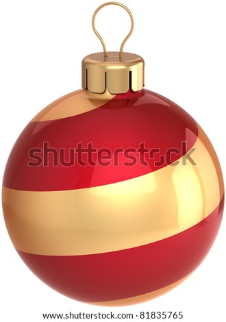 Christmas ball Happy New Year years eve bauble wintertime holidays decoration red gold colorful. Beautiful Merry Xmas traditional icon concept. 3d render isolated on white background - stock photo