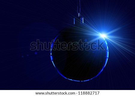 Christmas ball in contour light with lens flare on black background - stock photo