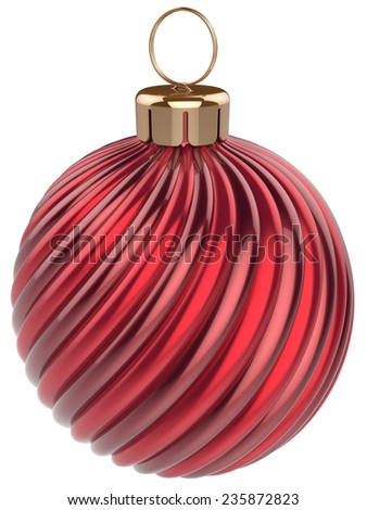 Christmas ball New Year bauble decoration red sphere icon. Beautiful shiny Merry Xmas winter symbol classic blank. 3d render isolated on white background - stock photo