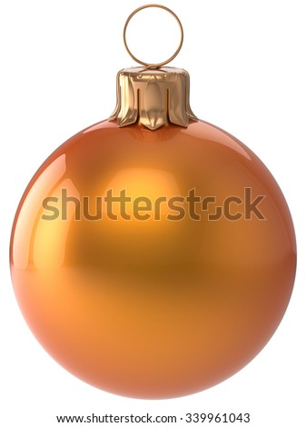 Christmas ball New Year's Eve bauble orange wintertime decoration sphere hanging adornment classic. Traditional winter holidays home ornament Merry Xmas event symbol shiny blank. 3d render isolated - stock photo