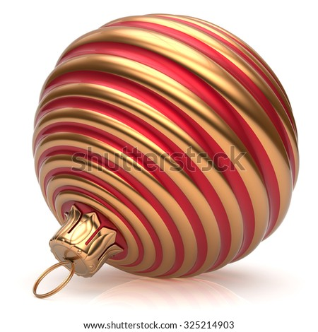 Christmas ball New Year's Eve decoration bauble red golden wintertime hanging adornment classic. Traditional ornament happy winter holidays Merry Xmas event symbol glossy blank. 3d render isolated - stock photo