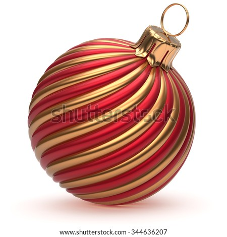 Christmas ball New Year's Eve decoration golden red shiny convolution lines bauble wintertime hanging adornment souvenir. Traditional ornament happy winter holidays Merry Xmas symbol. 3d render - stock photo