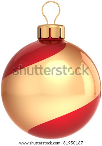 Christmas ball New Years Eve bauble decoration gold red swirl. Shiny beautiful Merry Xmas symbol classic. Wintertime party icon concept blank. 3d render isolated on white background - stock photo