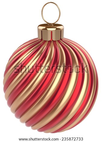Christmas ball New Years Eve bauble decoration gold red wintertime ornament icon traditional. Shiny Merry Xmas winter holidays symbol classic. 3d render isolated on white background - stock photo