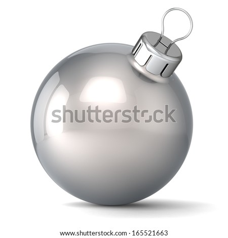 Christmas ball New Years Eve bauble decoration silver chrome wintertime ornament icon traditional. Shiny Merry Xmas winter holidays symbol classic blank. 3d render isolated on white background - stock photo