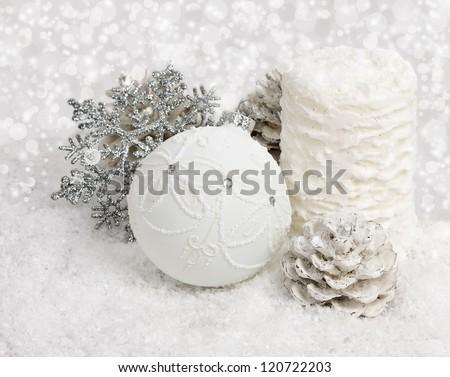 christmas ball on abstract light background - stock photo