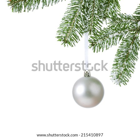 christmas ball on branch fir over white background - stock photo