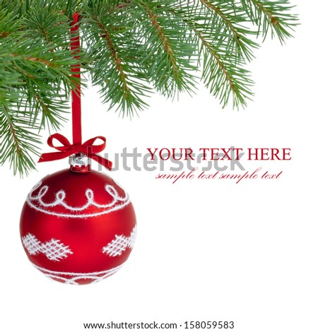 Christmas ball on branch isolated on the white background. - stock photo