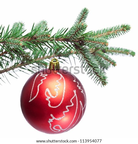 Christmas ball on fir branches. Isolated on white. - stock photo