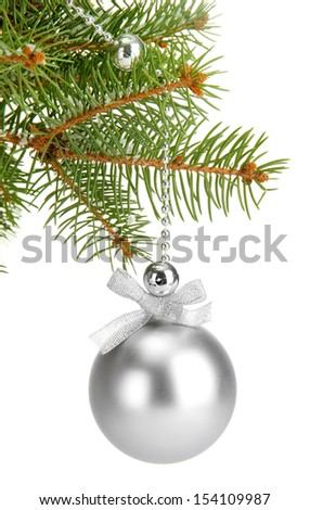Christmas ball on fir tree, isolated on white - stock photo