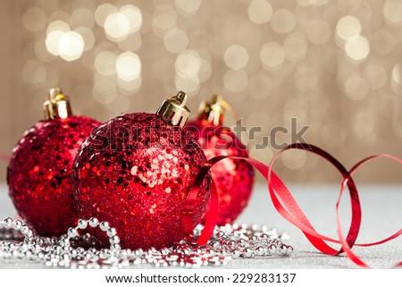 Christmas ball on shiny background - stock photo