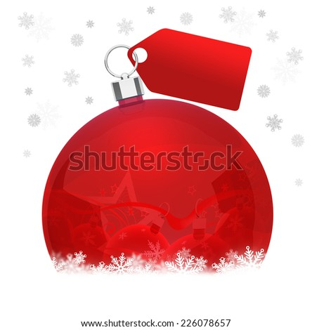 Christmas ball on snowflakes with cards on white background - stock photo