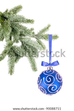 Christmas ball on the tree isolated on white background - stock photo