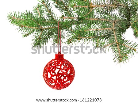 Christmas ball on the tree, on a white background, isolated - stock photo