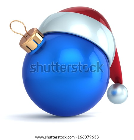 Christmas ball ornament New Year bauble decoration blue Santa hat icon happy emoticon. Seasonal wintertime Merry Xmas traditional symbol souvenir blank. 3d render isolated on white background - stock photo