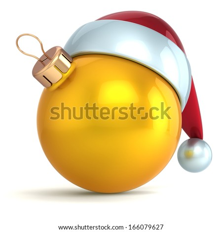 Christmas ball ornament New Year bauble decoration gold yellow Santa hat icon happy emoticon. Seasonal wintertime Merry Xmas traditional symbol souvenir blank. 3d render isolated on white background - stock photo