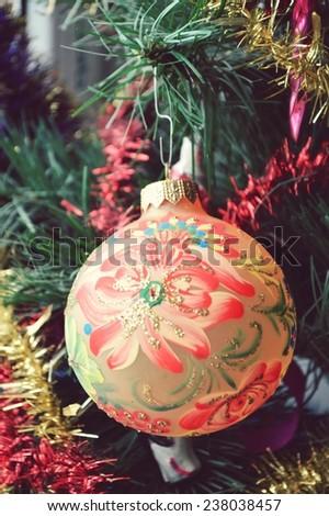 Christmas ball painted, garland, Christmas decorations - stock photo