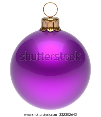 Christmas ball purple New Year's Eve bauble wintertime decoration glossy sphere hanging adornment classic. Traditional winter ornament happy holidays Merry Xmas symbol blank round. 3d render isolated - stock photo
