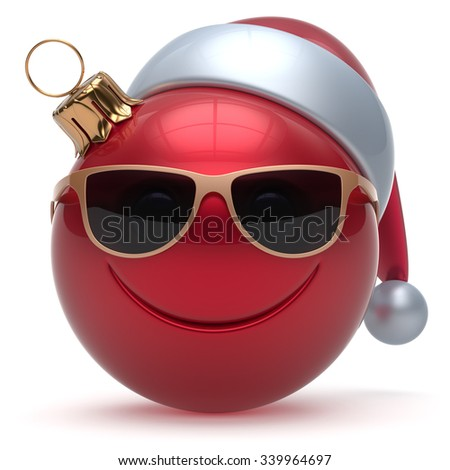 Christmas ball smiley face emoticon Happy New Year's Eve bauble cartoon decoration cute red. Merry Xmas cheerful funny smile Santa hat glasses person laughing joy character toy adornment. 3d render - stock photo