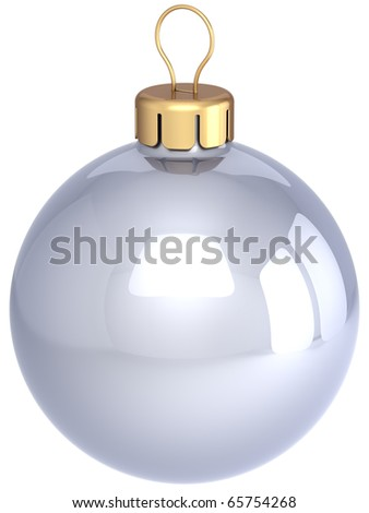 Christmas ball white silver chrome classic sphere. New Years Eve bauble shiny beautiful. Merry Xmas greeting card design element blank clean. 3d render isolated on white background - stock photo