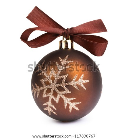 Christmas ball with bow - stock photo
