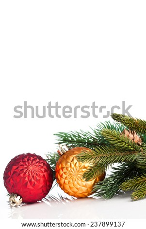 Christmas ball with green fir - stock photo