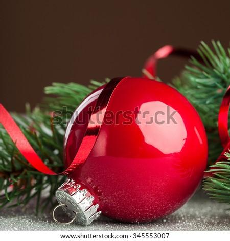 Christmas ball with green fir-tree  - stock photo