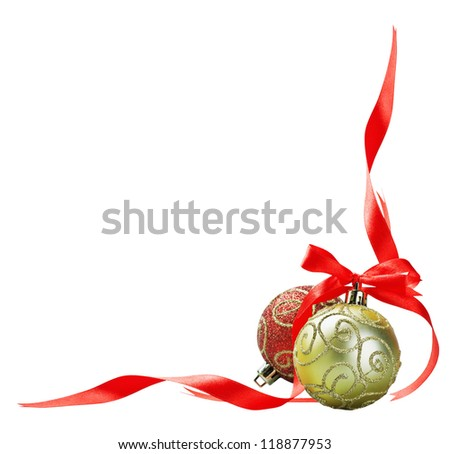 Christmas ball with red bow and ribbon isolated on a white background for text - stock photo
