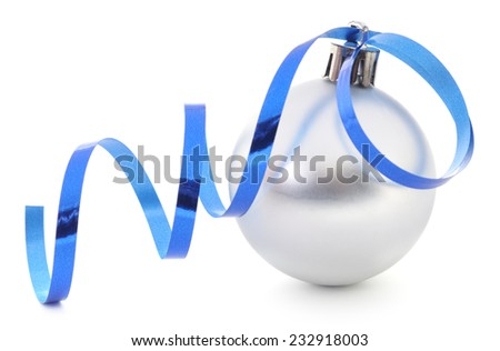 Christmas ball with ribbon isolated on white - stock photo