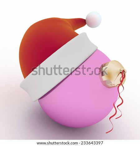 Christmas ball with santa hat isolated on white - stock photo