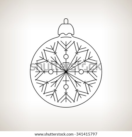 Christmas Ball with Snowflake , Christmas Ball  on a Light Background , Christmas Tree Decoration,Drawing in Linear Style,  Black and White  Illustration - stock photo
