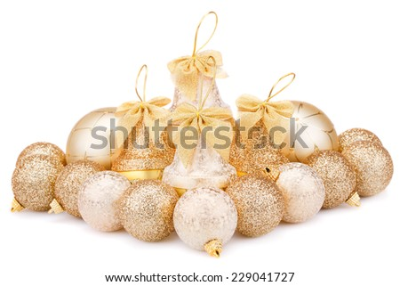 Christmas balls and bells isolated on white background. - stock photo
