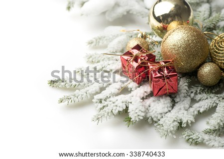 Christmas balls and decorations  on white background, close up - stock photo