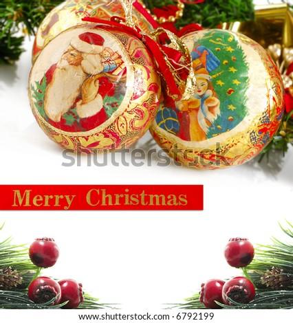 christmas balls and ribbon - stock photo