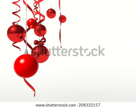 Christmas balls hanging. Christmas background with empty space for your text. - stock photo