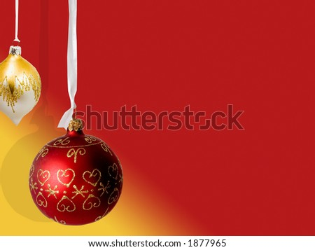 christmas balls hanging very clear - stock photo